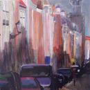 Voorstraat - acryl op paneel - 40x40 cm
