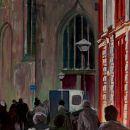 Oudestraat - acryl en gouache op paneel - 40x40 cm