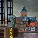 Stadsfront en Staal - acryl en gouache op paneel - 80x80 cm