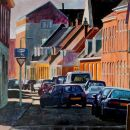Historisch inparkeren - acryl op paneel - 80x80 cm
