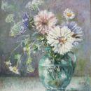 Vaas met zomerbloemen | 23 x 24 cm | olieverf op paneel | 2015 | te koop