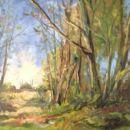 Landschap met hooiberg, doek 40x50 acryl