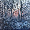 Winter, de zon komt op, doek 60x80 acryl