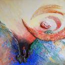 Psalm 7, Minerale pleister op paneeel, 60 x 60 cm, 2016