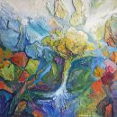 Psalm 36 vers 10, Minerale pleister op paneel en acrylverf, 60 x 60 cm, 2019