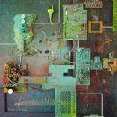 Assemblage, minerale pleister, computer en radio -onderdelen, 60 x 60 cm, 2018