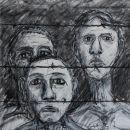 3 gevangenen 42.5x36.5 houtskool op papier