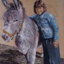 dochter Joëlle met haar grote vriend: ezel Jaap